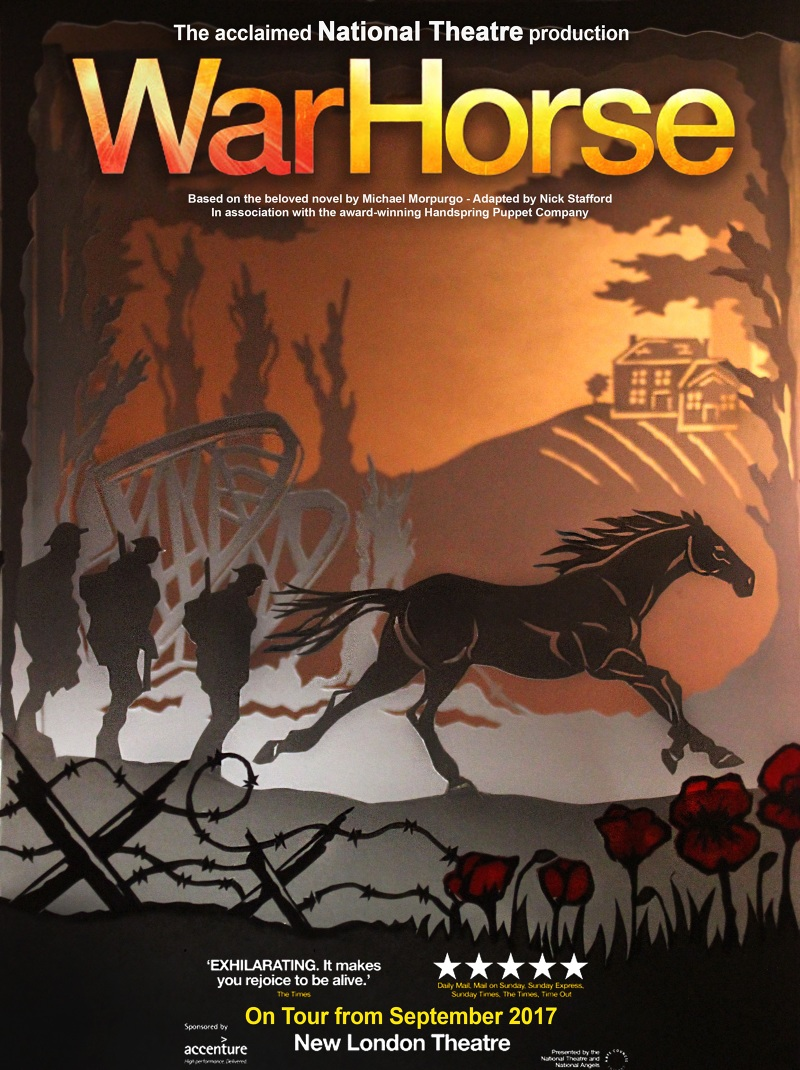 War Horse poster depicting scenes from the production. Paper-cut model making a small set and adding lighting effects to add shadow colour ... & War Horse Theatre Poster - Lydia Hopwood Illustration